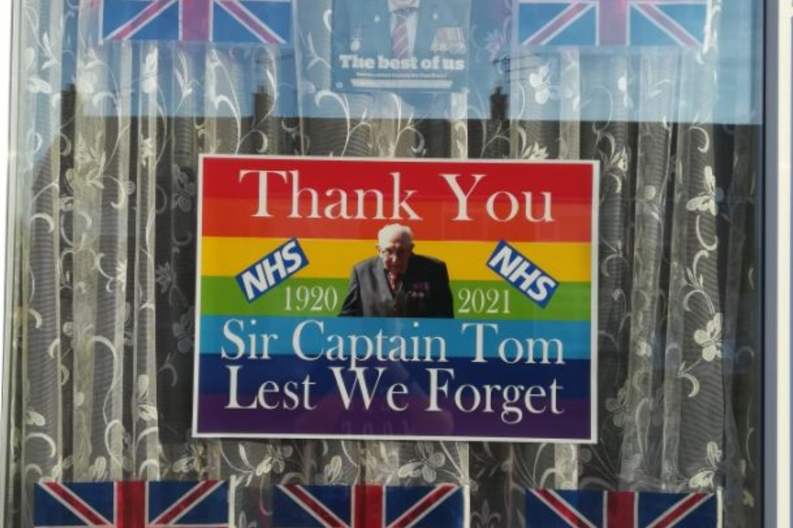 Captain Sir Tom Moore honoured with church bells and homemade tributes.