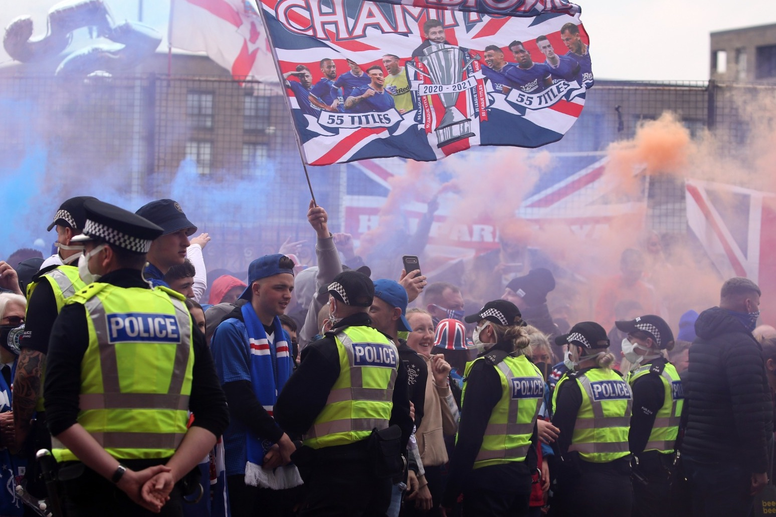 Thousands of Rangers fans gather at Ibrox ahead of title celebrations