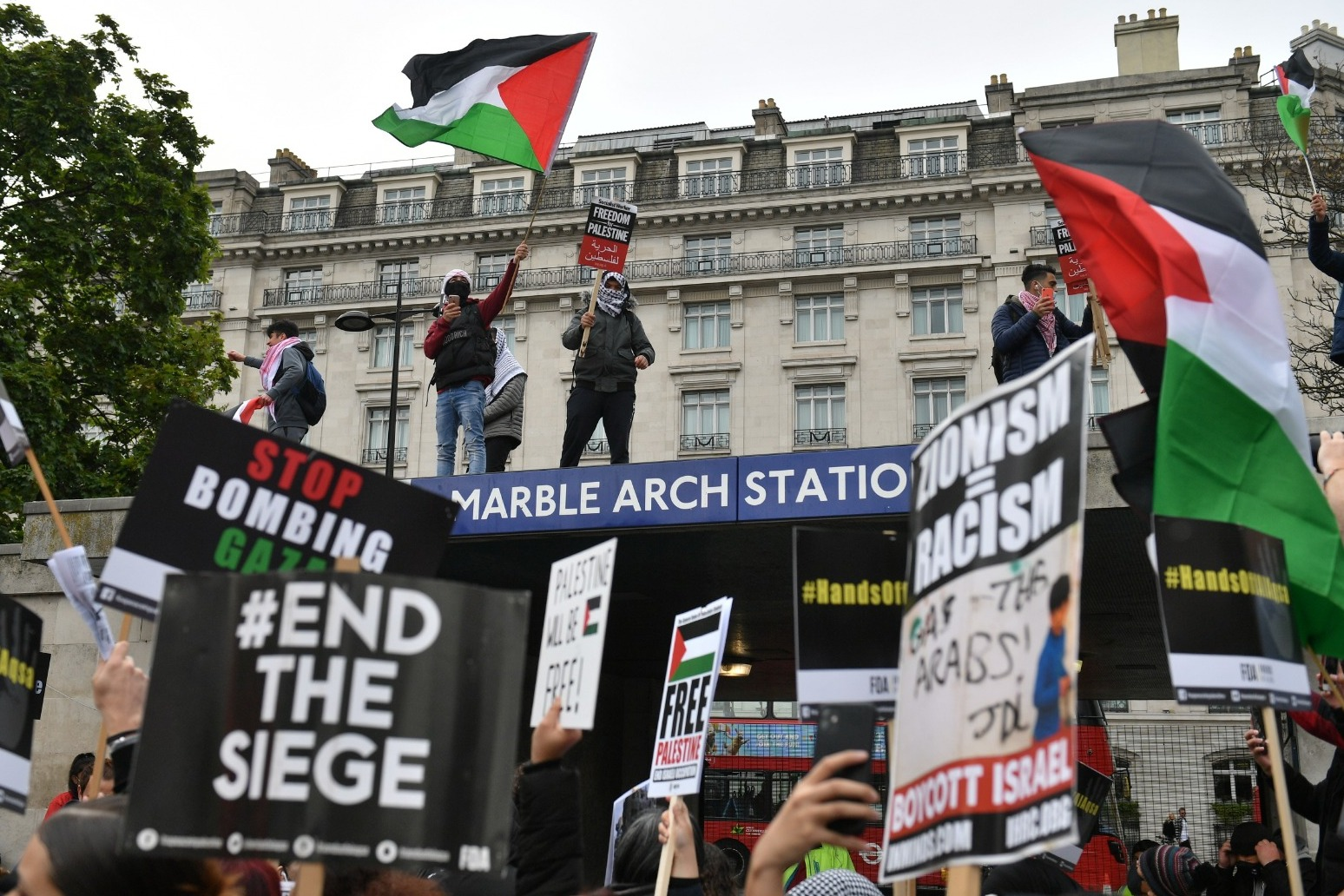 Marchers gather in central London for protest against Gaza violence