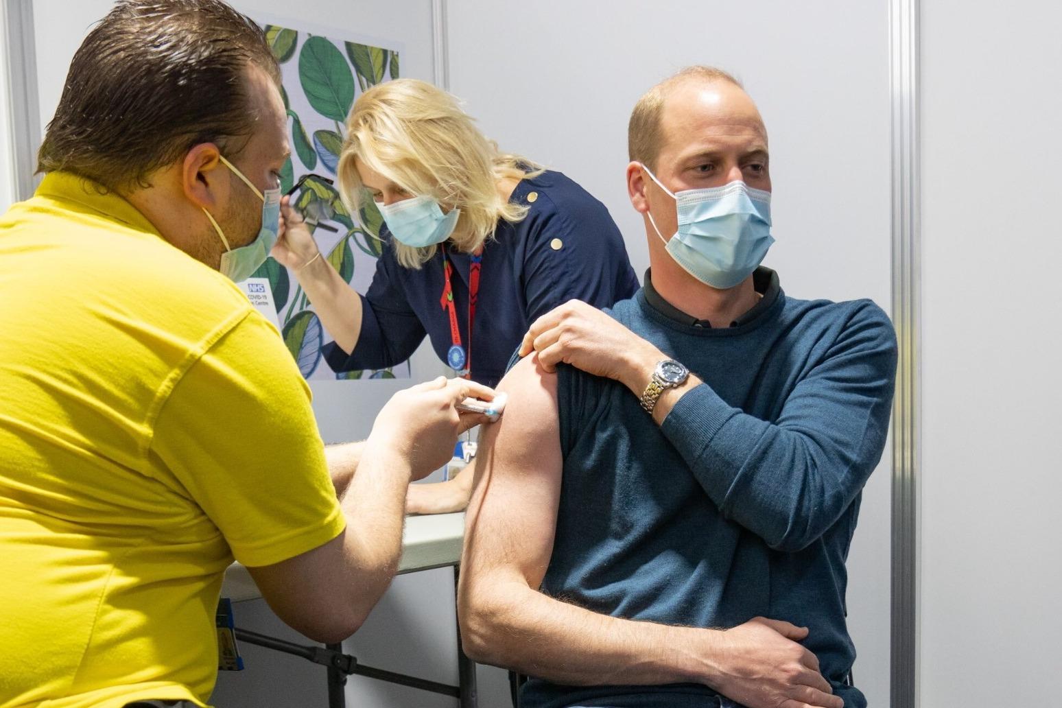 Prince William receives his first coronavirus vaccine dose