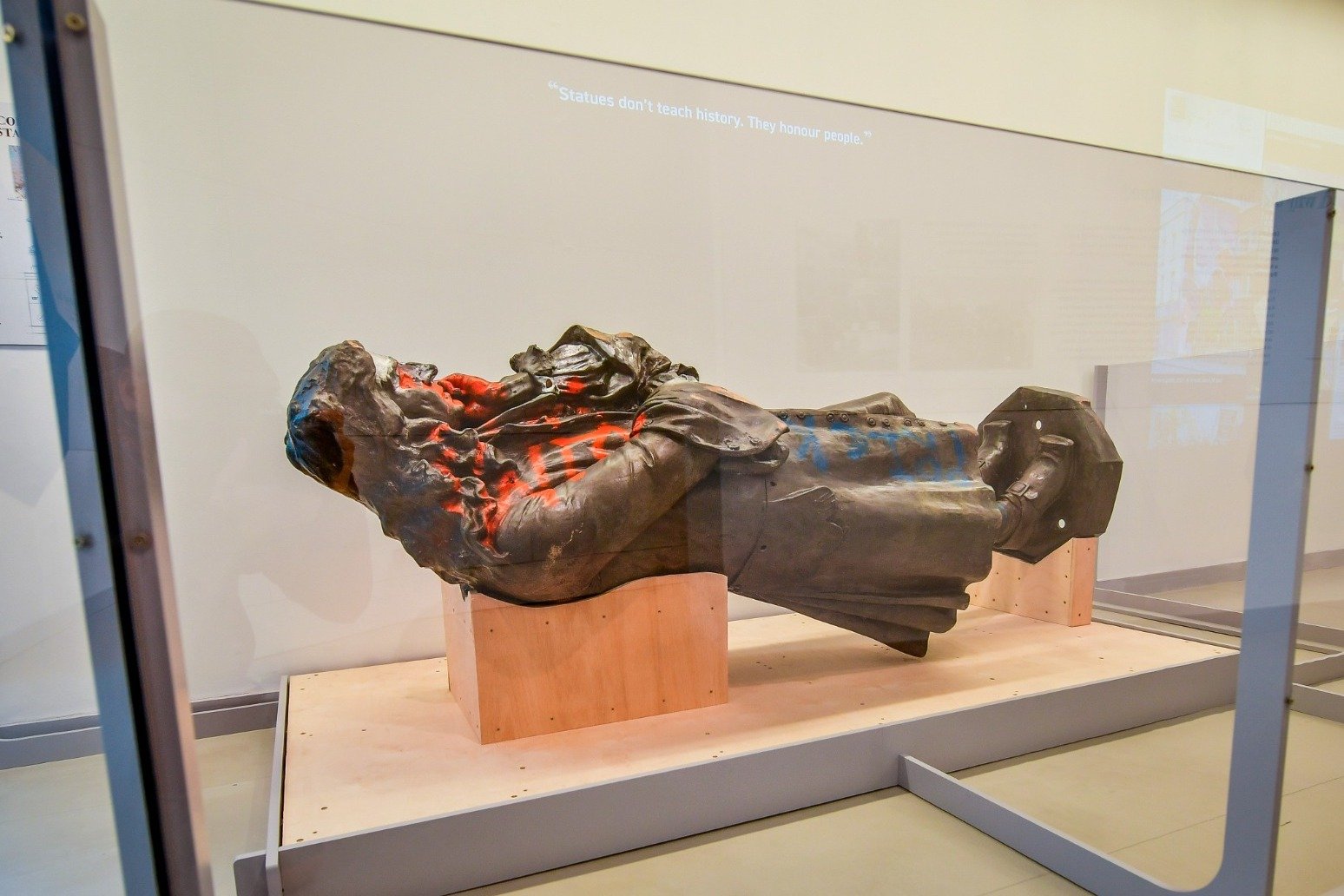 Toppled statue of slave trader Edward Colston goes on display in Bristol