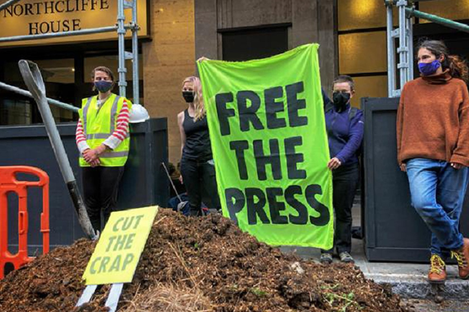 Protest outside a newspaper offices.