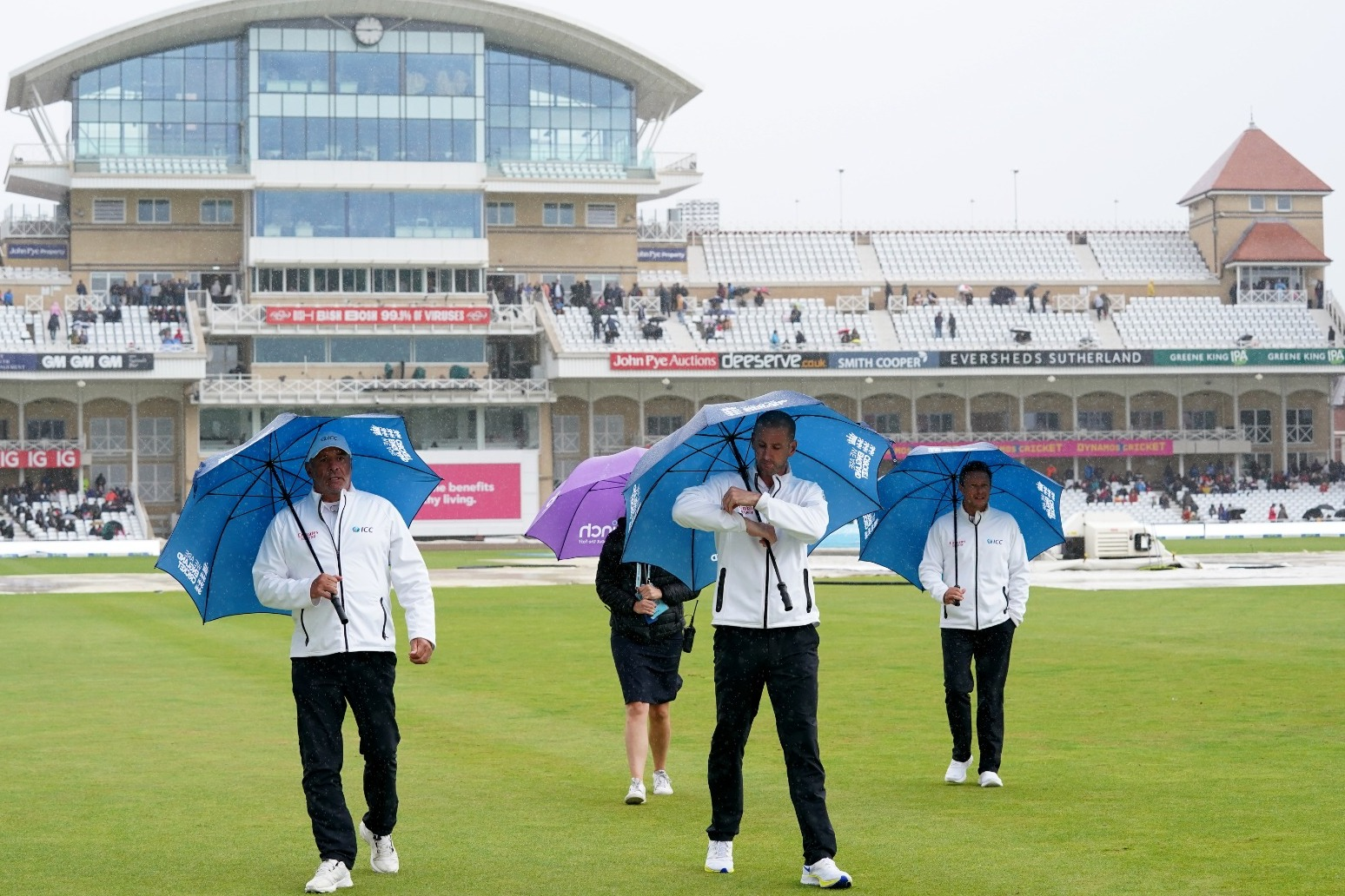 First Test between England and India ends in draw as rain washes out final day.