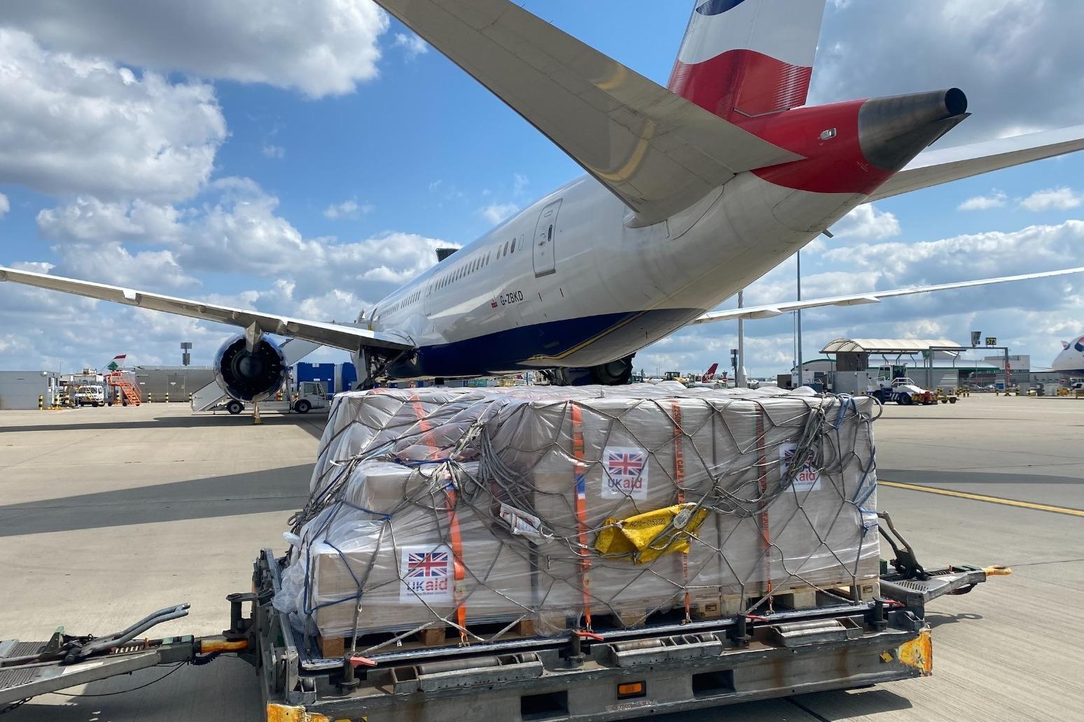 Royal Navy aircraft assisting US aid efforts in Haiti