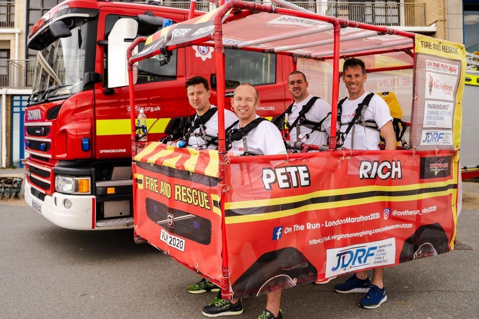 Firefighters to run London Marathon inside mini fire engine