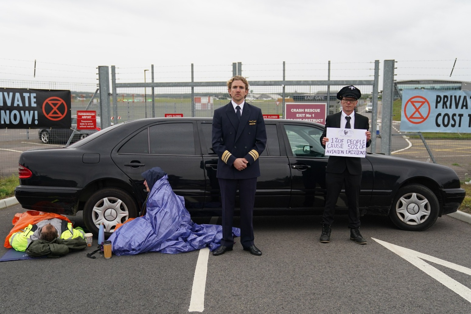 Climate activists stage protest at airport against private jet emissions