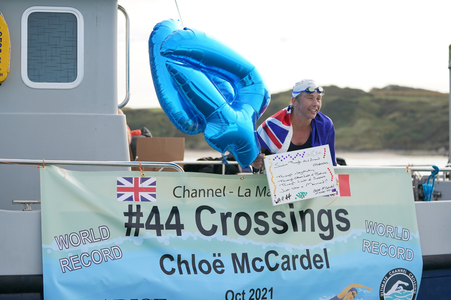 Endurance swimmer makes history with 44th English Channel crossing