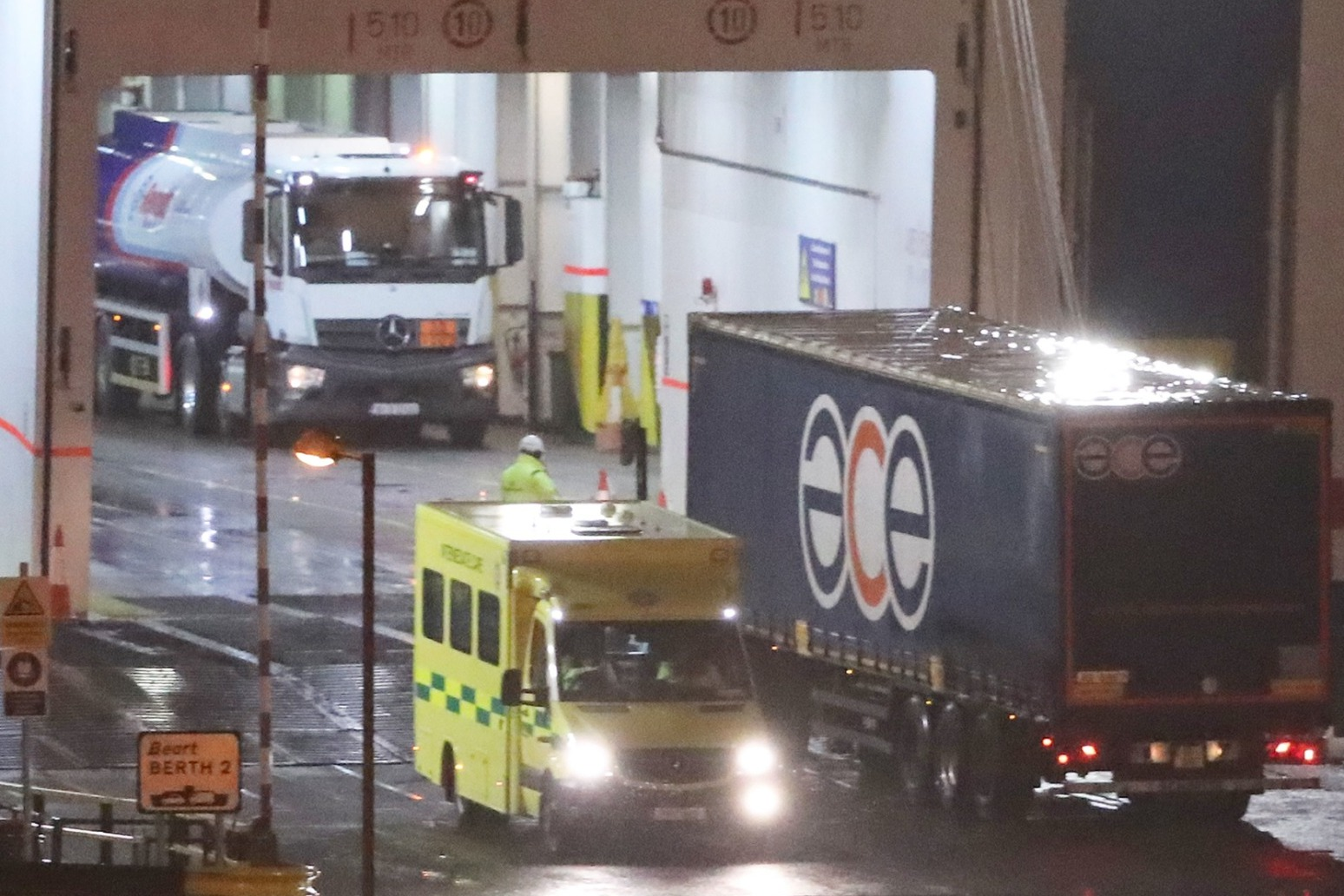LORRY SEIZED AFTER 16 PEOPLE FOUND IN TRAILER ON FERRY