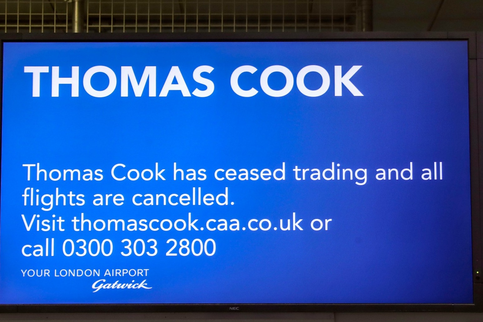 THOMAS COOK COLLAPSE LEFT £585M OF HOLIDAYS CANCELLED