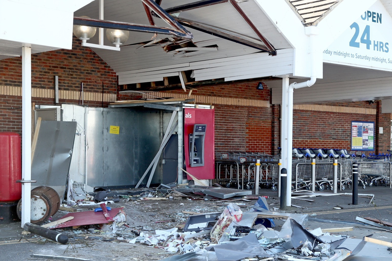 Digger used in midnight ram-raids on ATMs at Tesco store