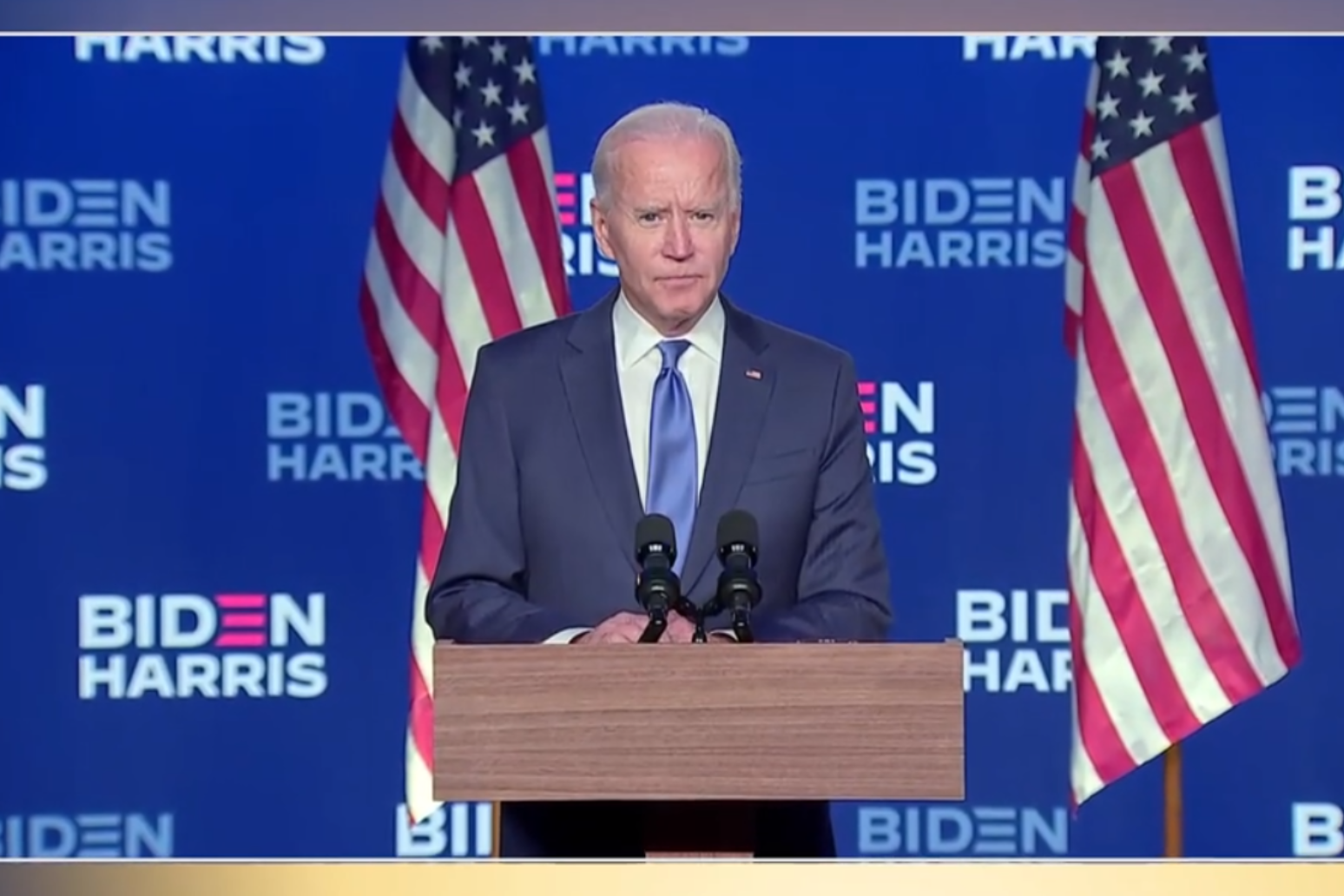 Joe Biden says 'we're going to win this race' but does not declare victory