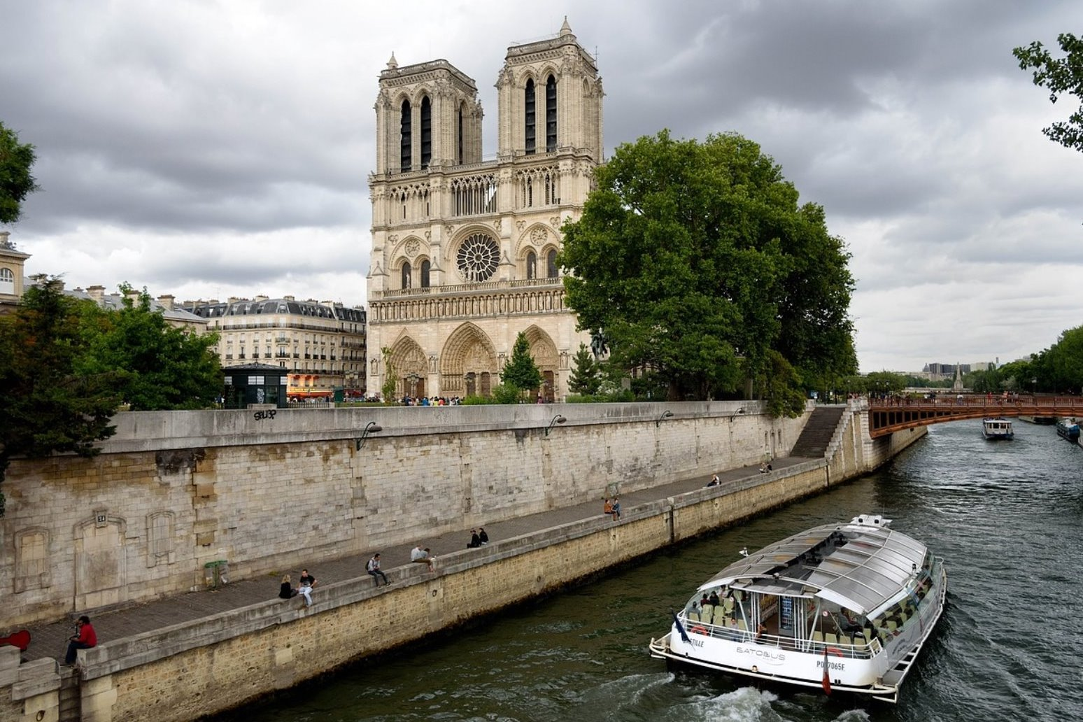 Firefighters dealing with a blaze at Notre Dame cathedral